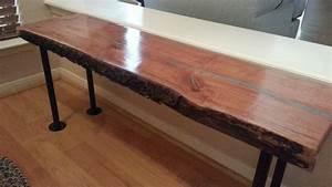 hand crafted live edge cherry wood slab coffee bench table With live edge cherry coffee table