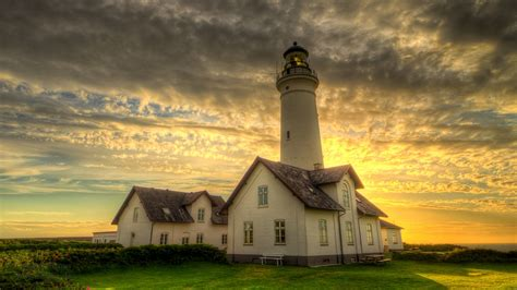 hirtshals lighthouse denmark hdr shot  front  sun