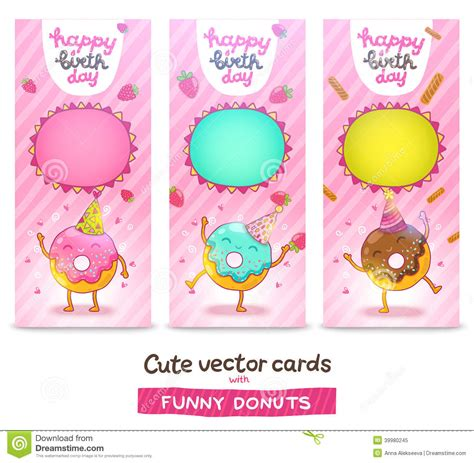 happy birthday card background  cute donut stock