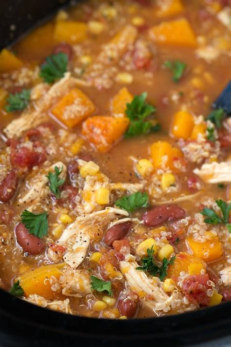chicken healthy crock pot recipes crockpot butternut squash chicken and quinoa soup chelsea s messy apron