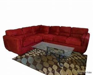 red ultra suede 2 pc two piece l shape couch sofa loveseat With red suede sectional sofa