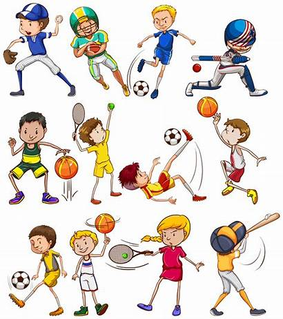 Sports Vector Children Illustration Different Playing Kinds