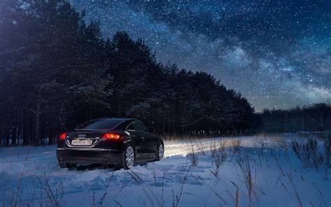wallpapers audi winter night forest snow cars audi tt