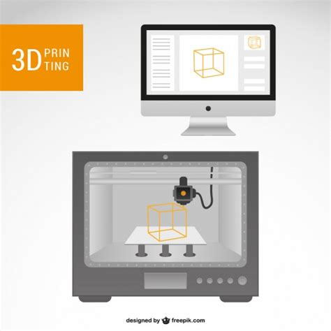 D Printer And Ocmputer Vector