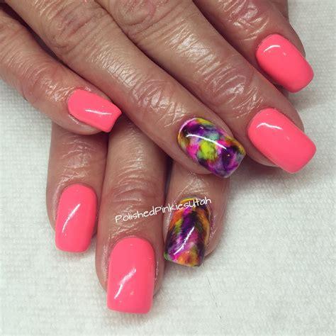 polished pinkies utah sharpie marble nail art  spring