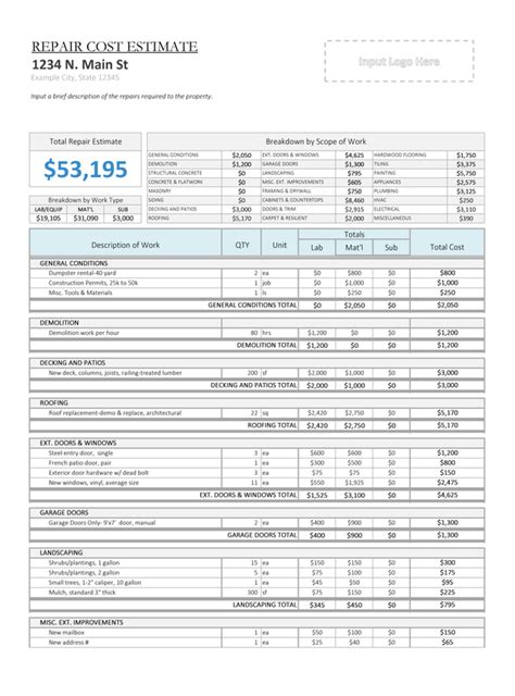 repair cost calculator house flipping spreadsheet