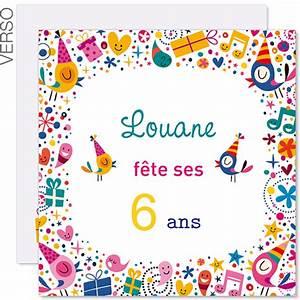 Invitation Anniversaire Fille 9 Ans : invitations anniversaire fille 6 ans vive la f te 41843 ~ Melissatoandfro.com Idées de Décoration
