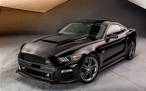 ford mustang voiture noire vue de face hd fonds