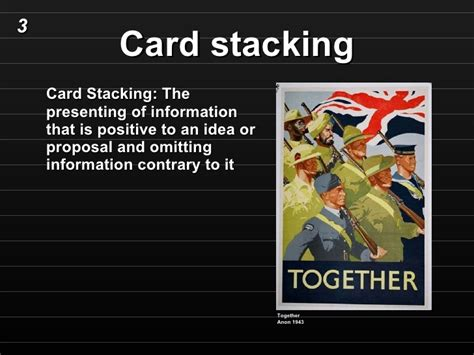 Stacking The Deck Fallacy by Card Stacking Propaganda Exles Pictures Inspirational