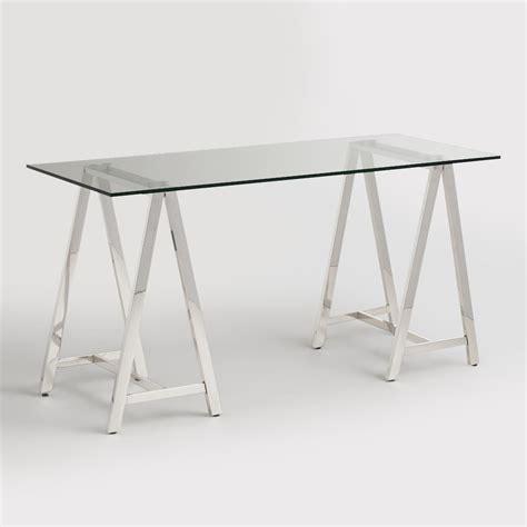 glass and chrome desk glass and chrome colton mix match desk world market