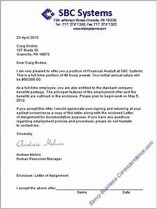 Formal Job Offer Letter formal letter template
