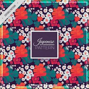 Japanese flowers and leaves pattern Vector | Free Download