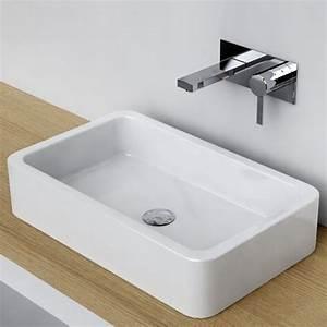 vasque a poser rectangulaire 58x36 cm ceramique pure With vasque carrée à poser salle de bain