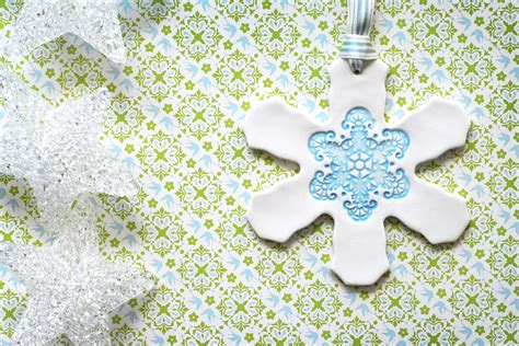 Ceramic Large Blue Christmas Snowflake Ornament Decoration