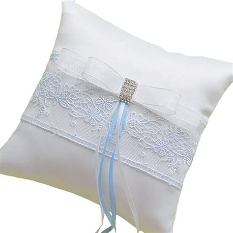 handmade ring bearer pillow for wedding with blue embroidery 6 5 quot gifts are blue