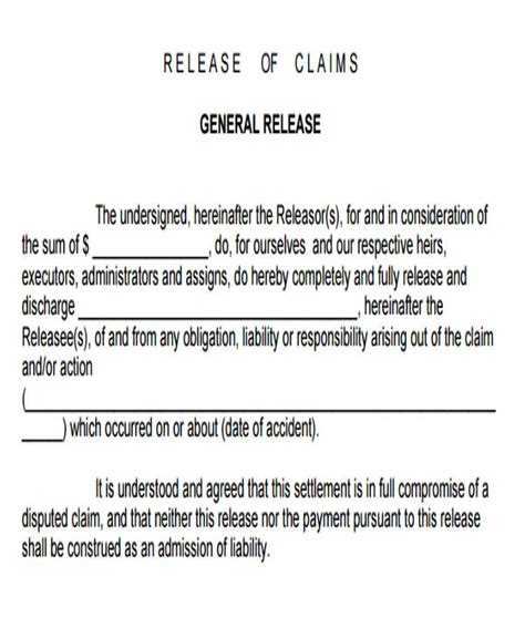 sample general liability release form  examples