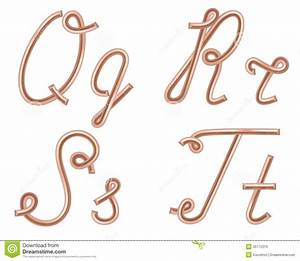 q r s t vector letters made of metal copper wire stock With wire alphabet letters