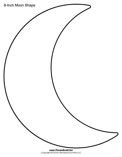 shape template crescent shape free coloring pages