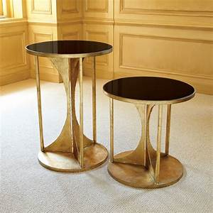 Appealing Modern Round Dark Tempered Glass Table With Gold
