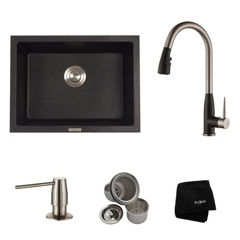 all in one sink kraus all in one dual mount granite composite 24 in