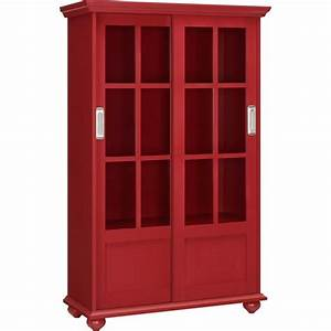 Sliding Glass Door Bookcase in Red - 9448396PCOM