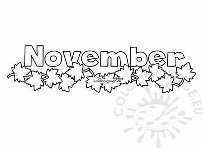 November Month Leaves Autumn Illustration Coloring Coloringpage