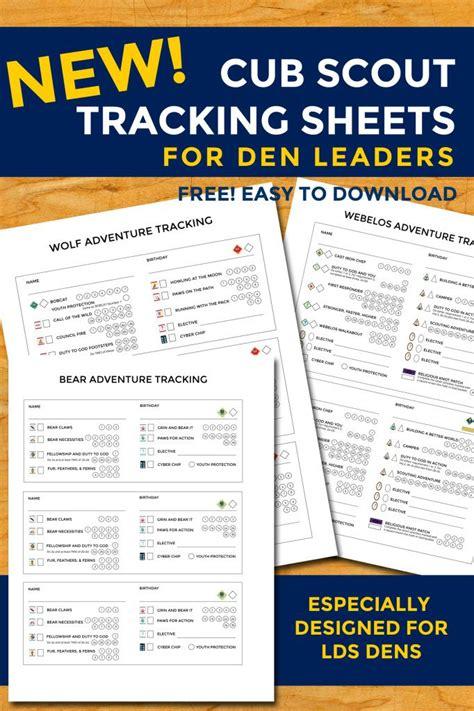 cub scout committee chair lds new cub scout tracking sheets especially for lds dens i