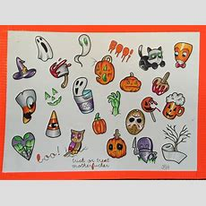Halloween Tattoo Flash Sheet  Festival Collections