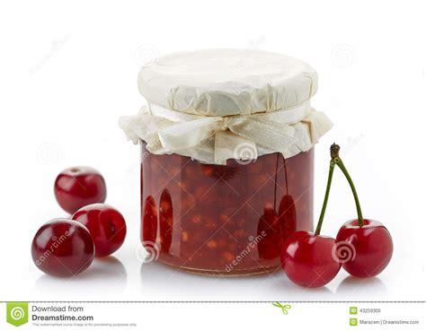 mise en pot confiture pot de confiture de fruit avec des cerises photo stock image 43259305