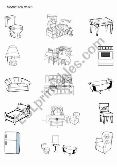 Furniture Rooms Match Worksheet Worksheets Esl