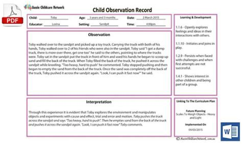 child obs anecdotal record template aussie childcare network