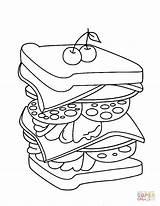 Kleurplaat Broodje Supercoloring Belegd Printen Donalds sketch template