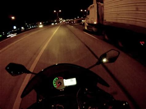 Lightning Lighting Up The Sky On A Night Time Motorcycle