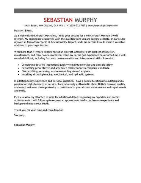 aircraft mechanic cover letter examples templates