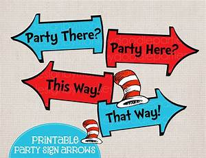 Whimsical Blue and Red Rhyming Printable Party Arrow Signs 4