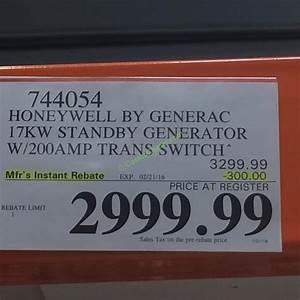 Honeywell By Generac 17kw Standby Generator  Model  6260