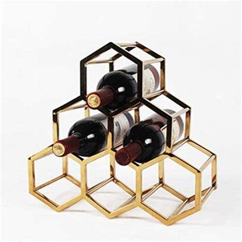 amazoncom metal wine rack  standing tabletop gold wine rack countertop wine bottle holder