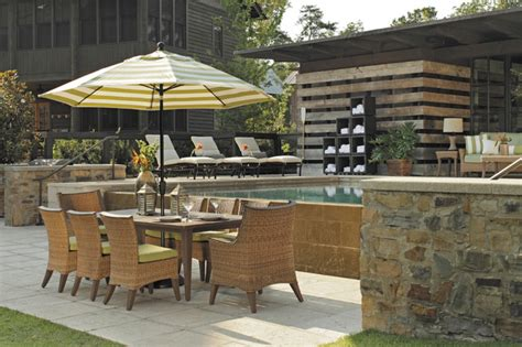 outdoor dining set with patio umbrella wicker chairs in n