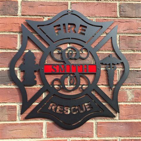 maltese cross firefighter monogram door hanger personalized