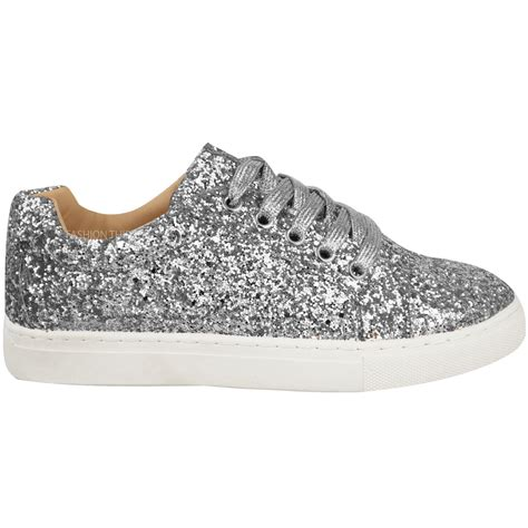 womens ladies flat lace  glitter sparkly trainers