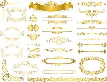 gold flourish swirl frame border clip art vintage golden