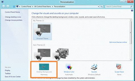 Enable User For Changing Desktop Background In Windows 8