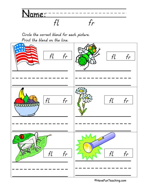 kindergarten worksheets blending sounds consonant sounds