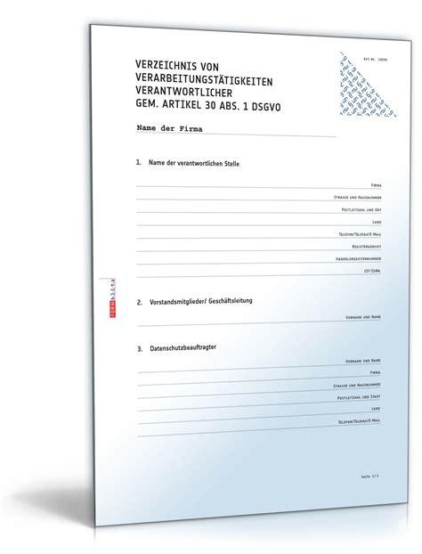 datenschutzrechtliches verfahrensverzeichnis vorlage zum