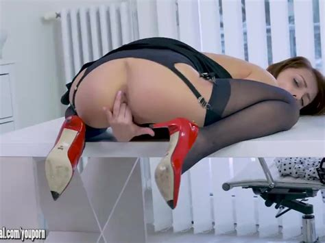 Blonde Office Slut Kate Rose Teases Upskirt In Nylon
