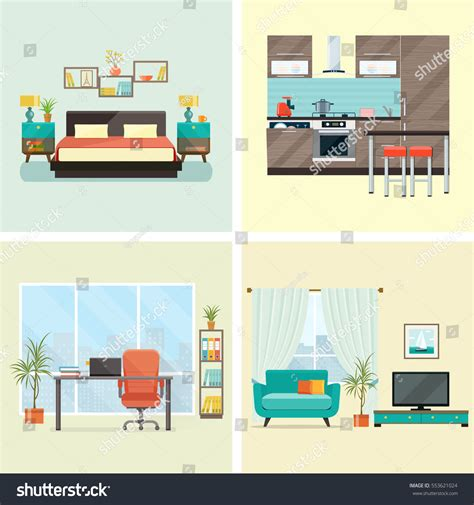 set interior design house rooms furniture stock vector