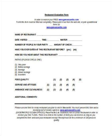 sample restaurant feedback forms   ms word