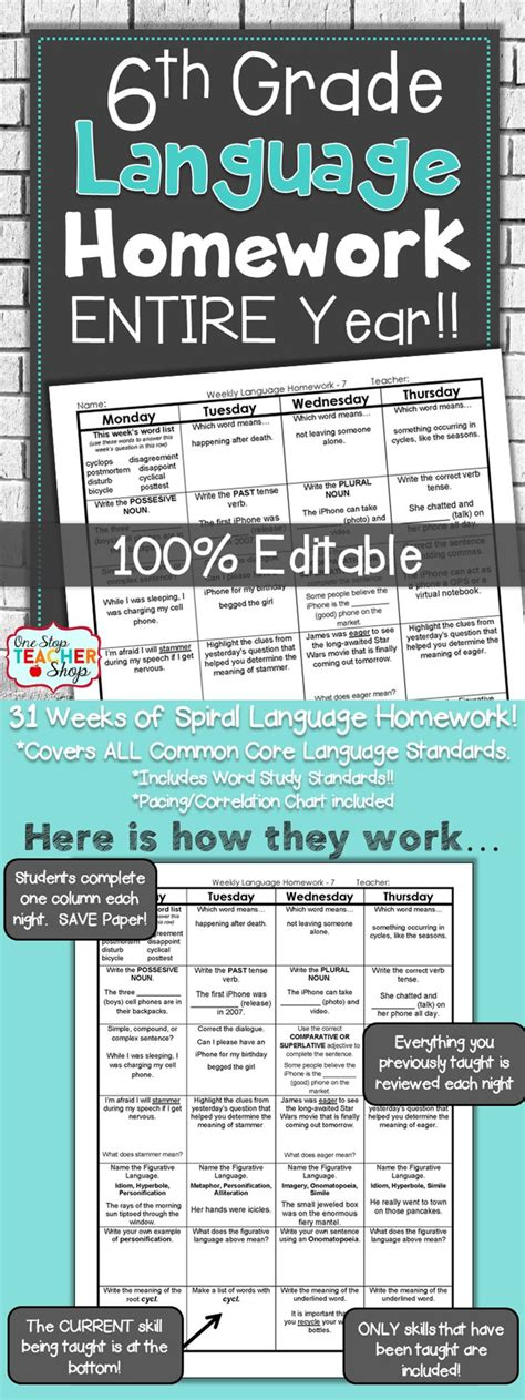 6th Grade Language Spiral Review  6th Grade Language Arts Homework Or Warm Ups  Middle School