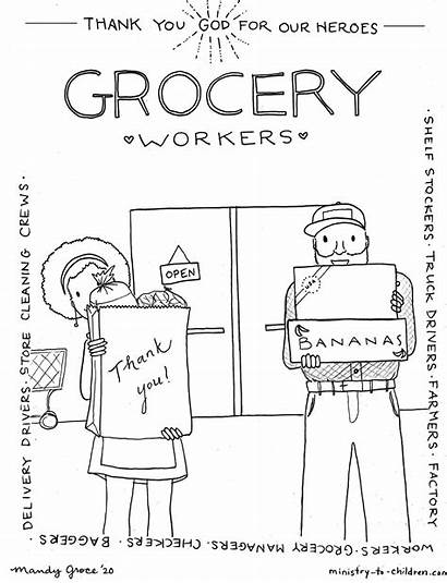 Coloring Workers Heroes Grocery Truck Delivery Children