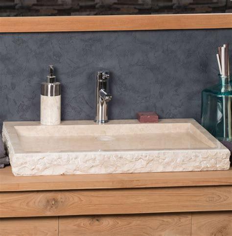large stone sink marble cream rectangular cm ombak